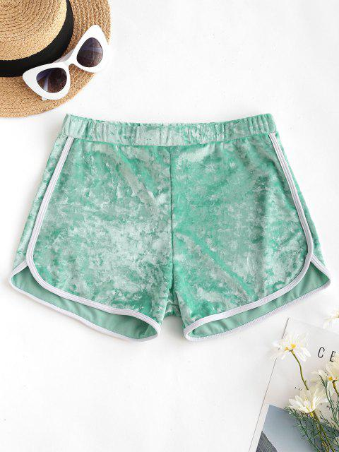 unique ZAFUL Crushed Velvet Contrast Dolphin Shorts - GREEN M Mobile