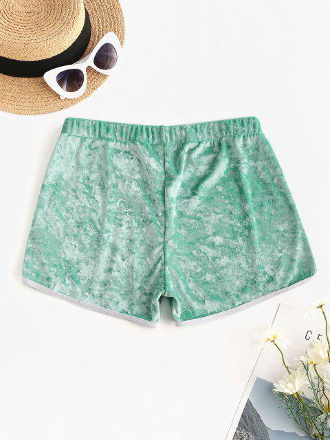 ZAFUL Crushed Velvet Contrast Dolphin Shorts - أخضر M Mobile