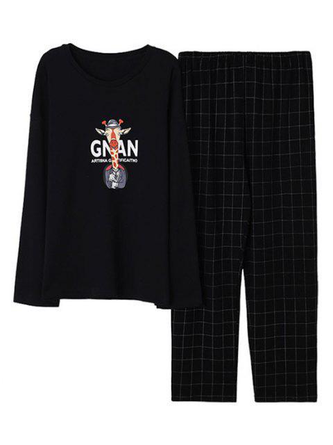 lady Cartoon Giraffe Letter Graphic Pajama Set - BLACK XS Mobile