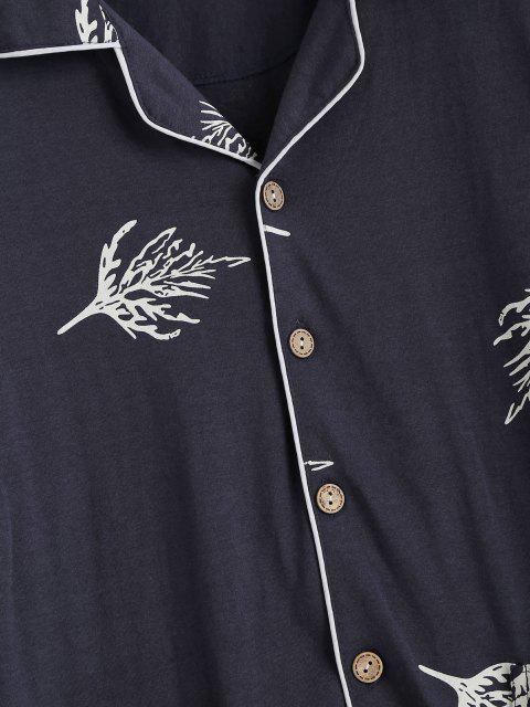 Blattmuster Doppelte Tasche Pyjama Set - Tiefes Blau L Mobile