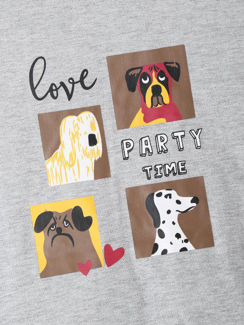 womens Dog Love Party Time Pattern Pajama Set - LIGHT GRAY S Mobile