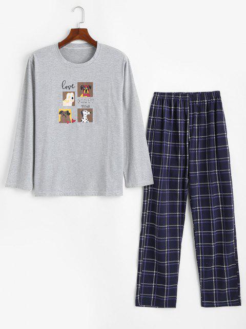 fancy Dog Love Party Time Pattern Pajama Set - LIGHT GRAY L Mobile