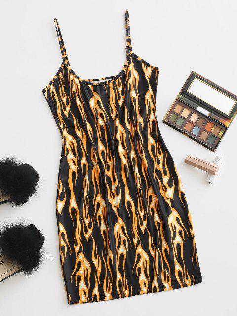 ladies ZAFUL Fire Flame Print Mini Bodycon Dress - MULTI-A L Mobile
