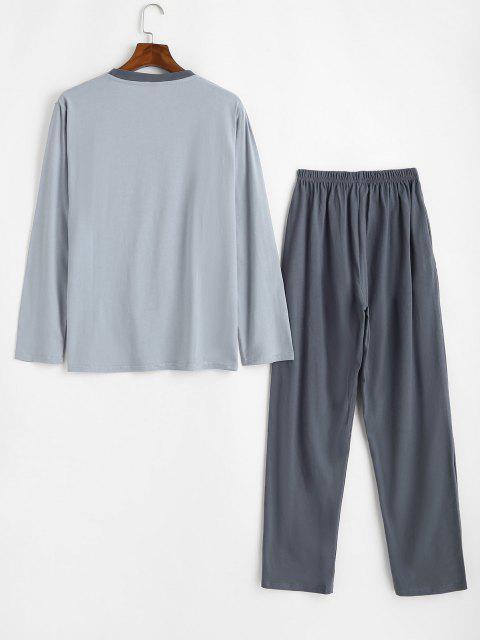 online Spring Came Leaf Pattern Pajama Set - GRAY L Mobile