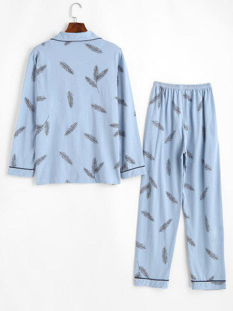 ladies Plant Leaf Print Pocket Contrast Trim Pajama Set - LIGHT BLUE XS Mobile