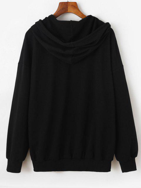 women's ZAFUL Hooded Drop Shoulder Letter Pocket Jacket - BLACK M Mobile