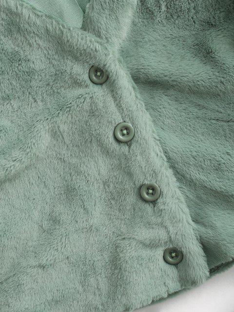 ZAFUL Abrigo de Piel Sintética Recortado - Verde claro XL Mobile