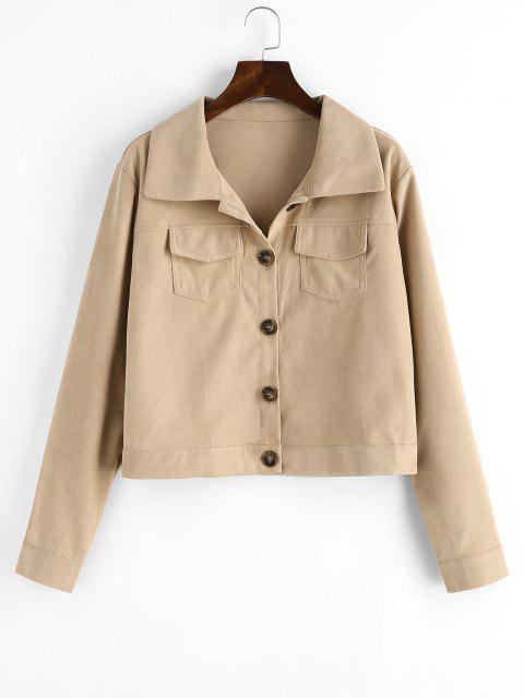 outfit Flap Pockets Button Up Cargo Shacket - LIGHT COFFEE M Mobile