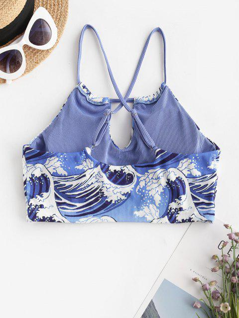 ZAFUL Ribbed Sea Wave Print Cutout Bikini Top - أزرق S Mobile
