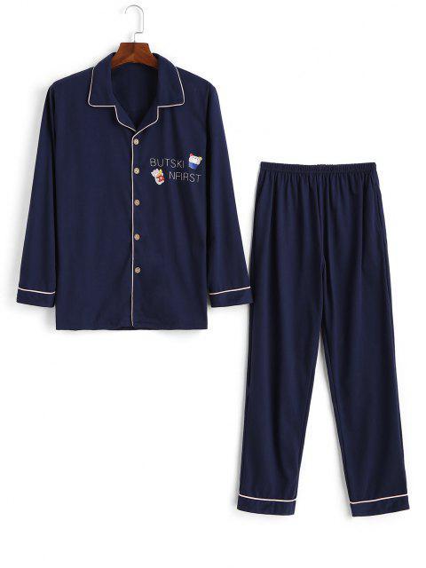Conjunto de Pijama con Estampado de Letras de Dibujos Animados - Cadetblue XS Mobile