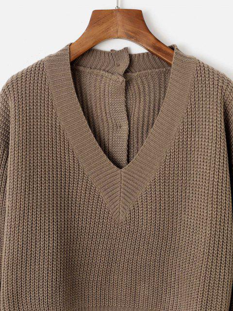 Kurz Geschnittene Pullover mit V Ausschnitt und Knopfleiste - Tiefkaffee Eine Größe Mobile