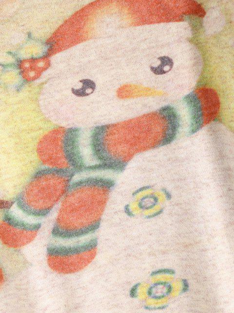 lady Heathered Snowman Graphic Christmas Sweater - LIGHT COFFEE ONE SIZE Mobile