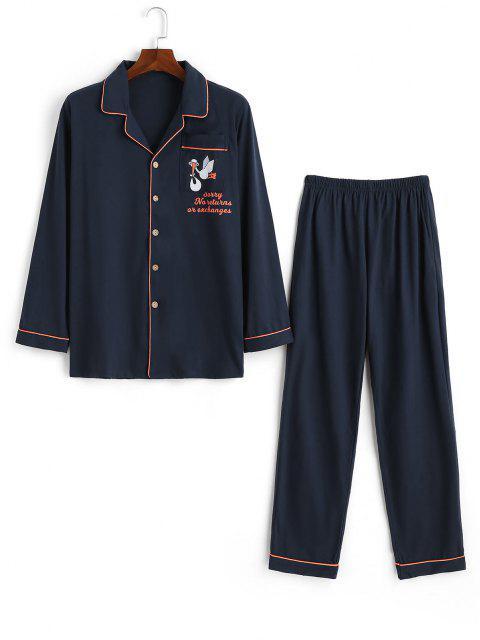 Pijama Macacão de Desenhos Animados com Estampa de Animal de Letra Patch Bolso - Cadetblue XS Mobile