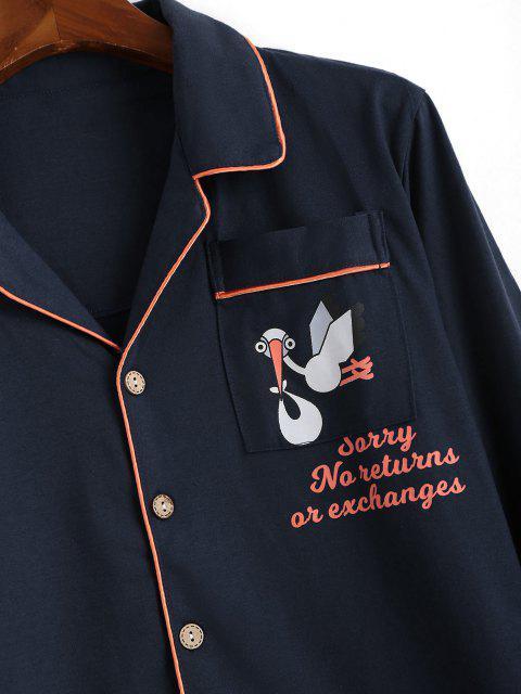 women Cartoon Animal Letter Print Pocket Patch Pajamas - CADETBLUE L Mobile