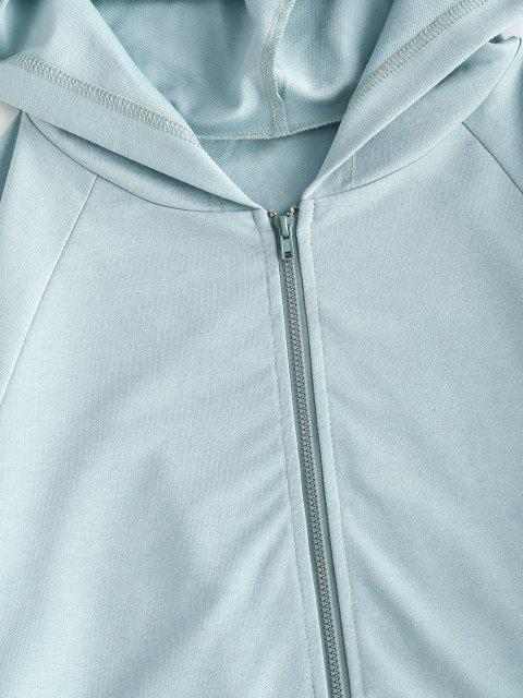ZAFUL Reißverschluss Hoodie und Tunnelzug Zweiteilige Shorts Set - Hellblau Lilie M Mobile