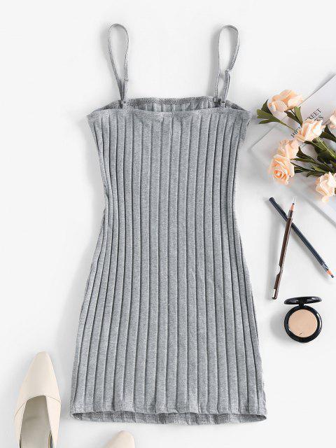 womens ZAFUL Ribbed Open Back Bodycon Dress - ASH GRAY XL Mobile