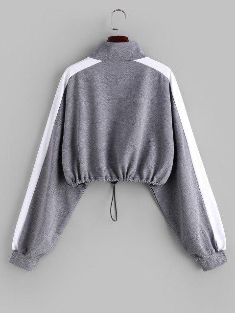 outfits Colorblock Half Zip Toggle Drawstring Sweatshirt - MULTI M Mobile