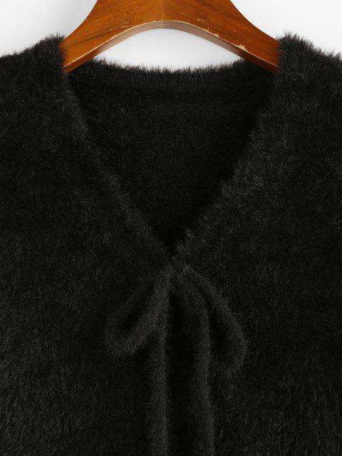 outfits ZAFUL Fuzzy Bowknot V Neck Jumper Sweater - BLACK M Mobile