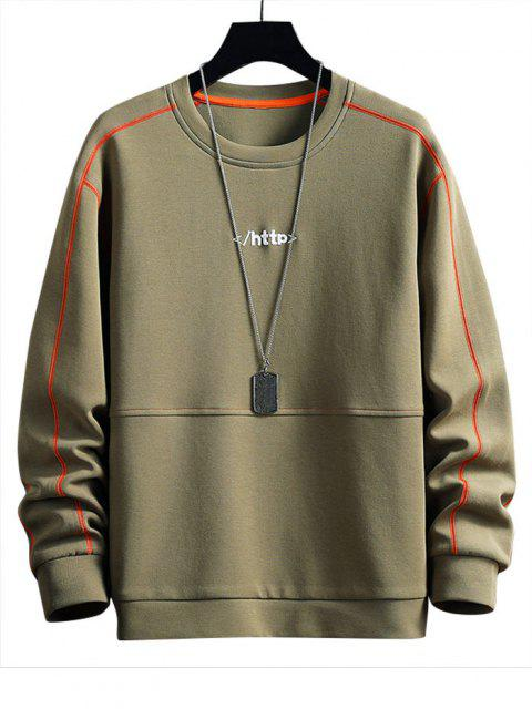 Letter Embroidery Stitching Raglan Sleeve Sweatshirt - الجيش الأخضر S Mobile
