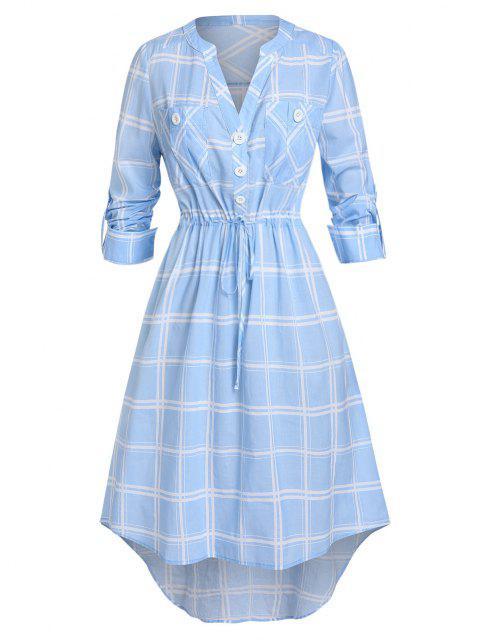 Tallas de talla grande con cordón a cuadros enrollado hacia arriba vestido Vestido V Notch - Azul Marino 1X Mobile