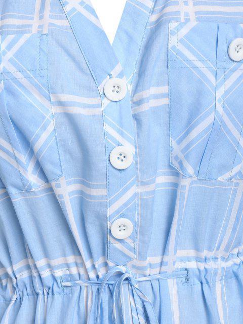 lady Plus Size Plaid Drawstring Rolled Up Sleeve V Notch Dress - SEA BLUE 2X Mobile