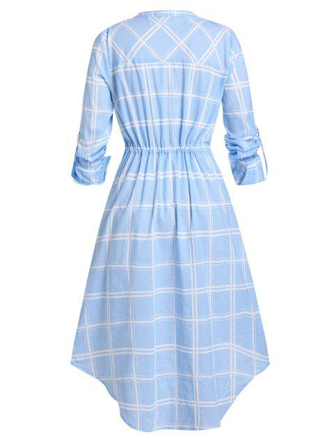 best Plus Size Plaid Drawstring Rolled Up Sleeve V Notch Dress - SEA BLUE 3X Mobile