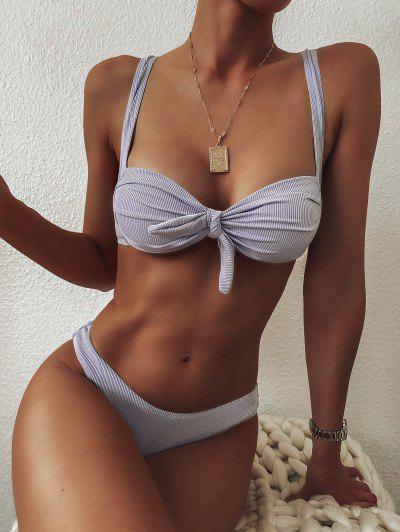 ZAFUL Pleated High Cut Ribbed Bikini Swimwear - Lavender Blue M