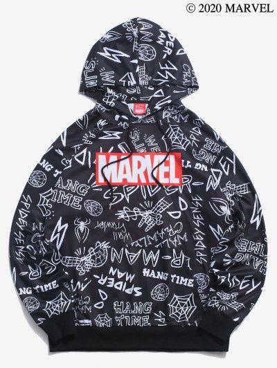 Marvel Spider-Man Wed Slinger Letter Graphic Hoodie - Black 2xl