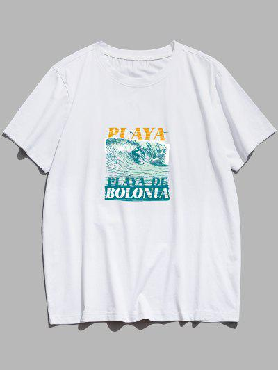 ZAFUL PLAYA DE BOLONIA Sea Waves Print Basic T-shirt - White M