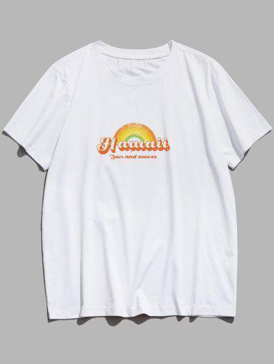 Sun And Waves Hawaii Rainbow Print Basic T-shirt - White M