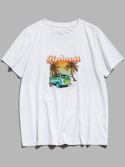 Palm Tree Hawaii Bus Graphic Basic T-shirt - White Xs