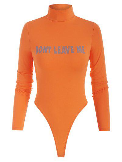 High Neck DONT LEAVE ME Graphic Bodysuit - Orange M