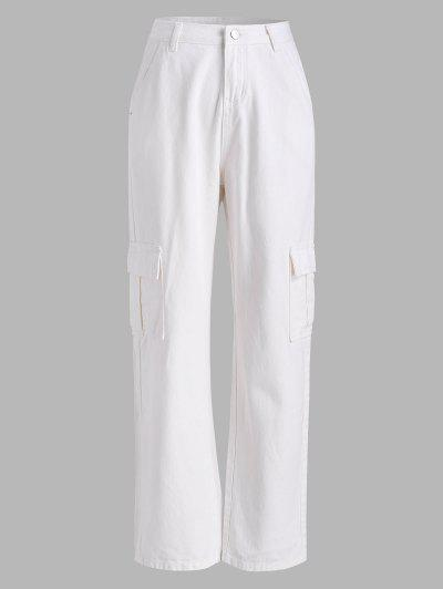 Pockets High Waisted Wide Leg Cargo Jeans - White S