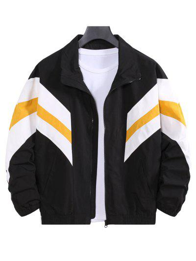 Colorblock Striped Dop Shoulder Leisure Jacket - Black L