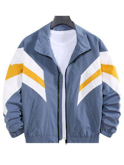 Colorblock Striped Dop Shoulder Leisure Jacket - Blue Xl