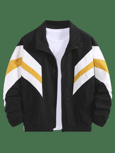 Colorblock Striped Dop Shoulder Leisure Jacket