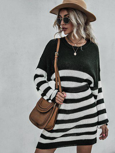 Stripe Drop Shoulder Mini Sweater Dress - Deep Green S