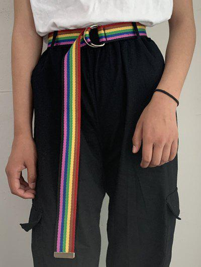 Rainbow Striped Canvas Woven Belt - Multi-a
