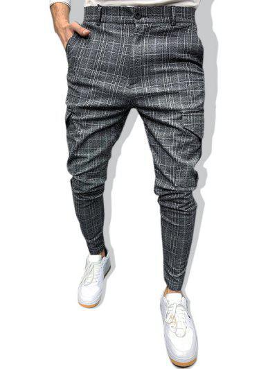 Plaid Print Flap Pockets Casual Pencil Pants - Dark Gray S