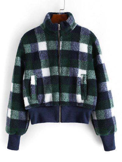 Zip Up Pockets Plaid Teddy Jacket - Deep Green M