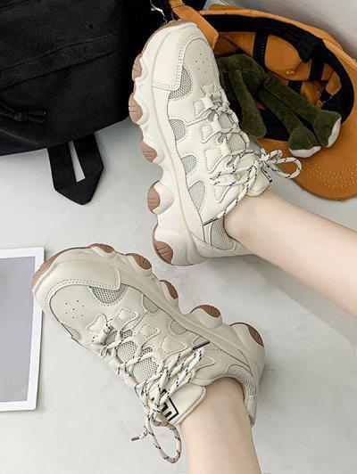 Zapatos De Deporte De Malla Con Cordones - Beige Eu 39