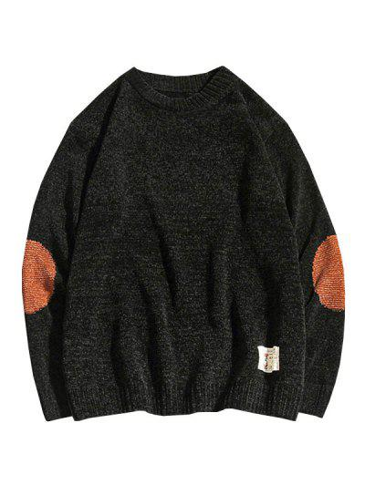 Graphic Applique Contrast Sweater - Black Xs