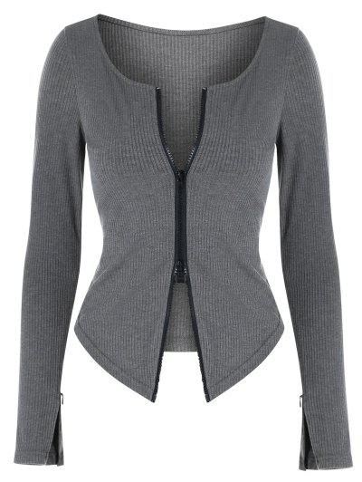 ZAFUL Two Way Zipper Asymmetric Ribbed Cardigan - Dark Gray M