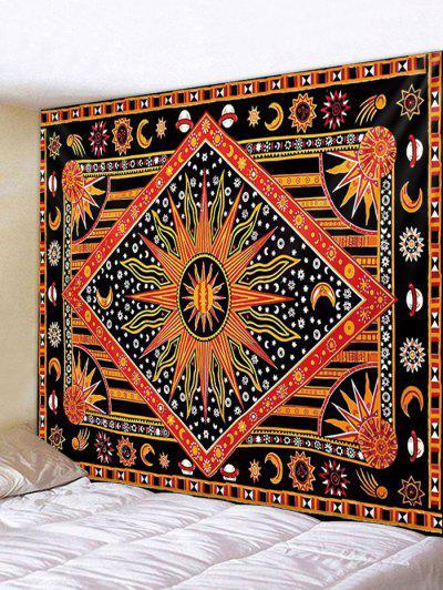 Bohemia Sun Geo Printing Wall Tapestry - Chestnut Red W91 X L71 Inch