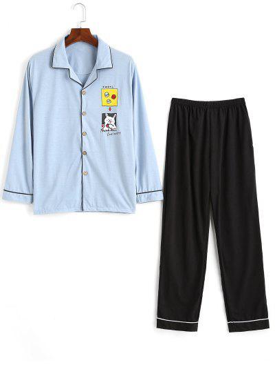 Think Less Live More Cartoon Animal Print Pajama Set - Light Blue L