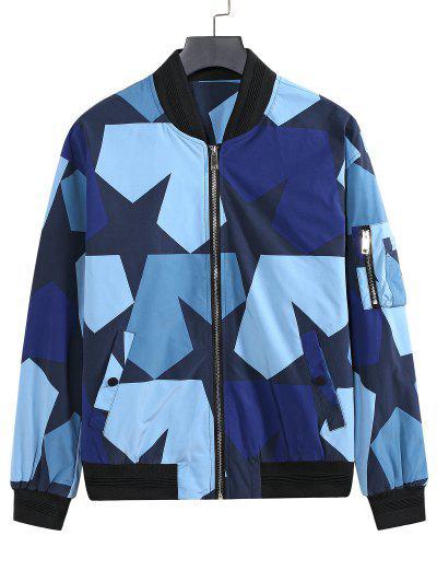 Camo-Star Print Zip Up Multi Pockets Baseball Jacket - Blue L