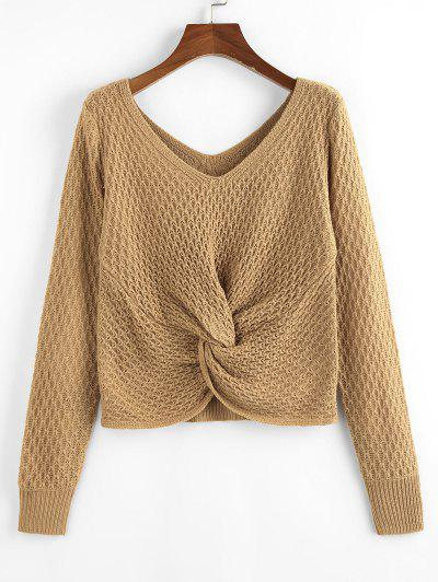ZAFUL Twisted Double V Jumper Sweater - Light Coffee S