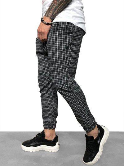 Casual Tattersall Plaid Print Pencil Jogger Pants - Black Xxl