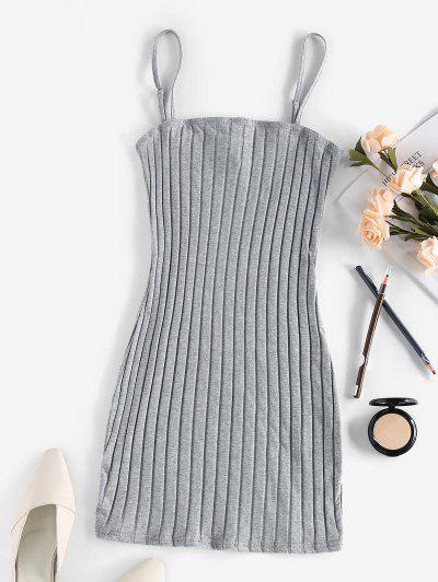 ZAFUL Ribbed Open Back Bodycon Dress - Ash Gray S