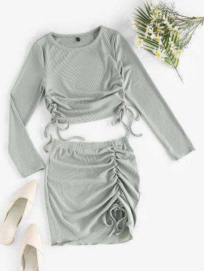ZAFUL Rib-knit Cinched Two Piece Dress - Light Green L